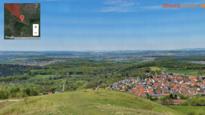 30 Gigapixel Panorama vom Jusi bei Metzingen / Kohlberg in Baden-Württemberg, Deutschland. Panorama aus 2.436 Einzelbildern mit über 505000x60000 Pixeln.