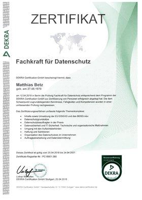 Zertifikat Fachkraft Datenschutz Matthias Betz