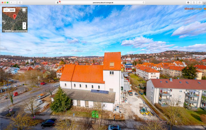 15 Gigapixel Panorama mit Hochstativ der Südstadt Tübingen